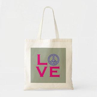 Peace Circle Symbol Love Green Pink Budget Tote Bag