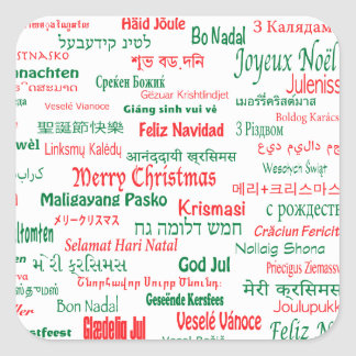 Peace Coexist Happy Merry Christmas Many Languages Square Sticker