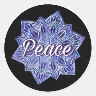 Peace coloured mandala classic round sticker