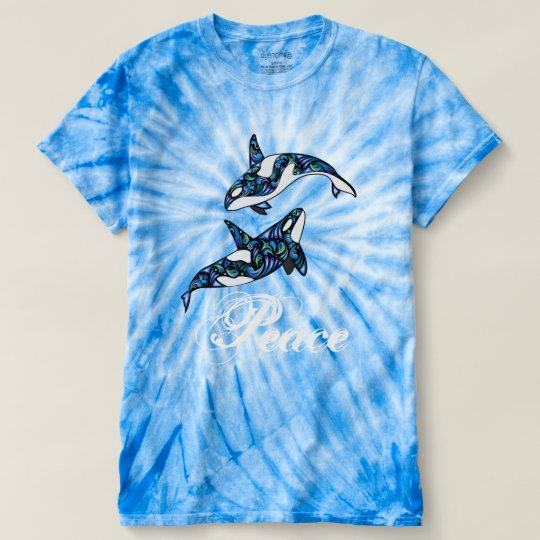 Peace ~ Colourful Psychedelic Trippy Orca Whales T-Shirt