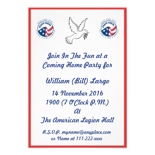 Peace Corps Coming Home Party Invitation