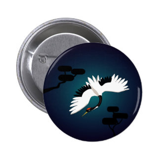Peace Crane 6 Cm Round Badge