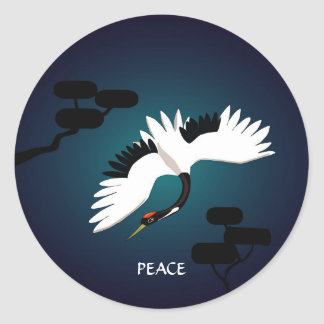 Peace Crane Classic Round Sticker