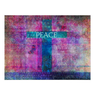 PEACE CROSS Contemporary Christian art Poster