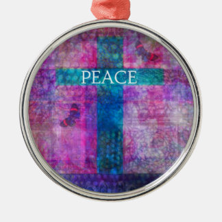 PEACE CROSS Contemporary Christian art Silver-Colored Round Decoration