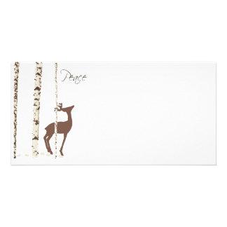 Peace, Deer & Birch {Horizontal} Card