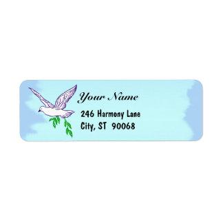 Peace Dove Blue Sky Custom Return Address Label