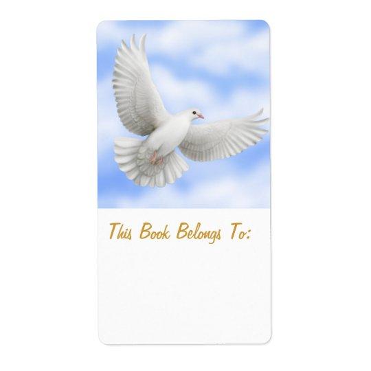 Peace Dove Bookplate Shipping Label