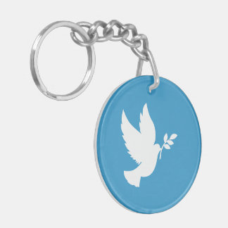 Peace Dove Double-Sided Round Acrylic Key Ring