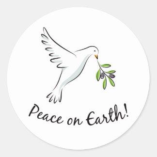 Peace dove round sticker