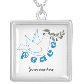 Peace dove with olive branch custom necklace