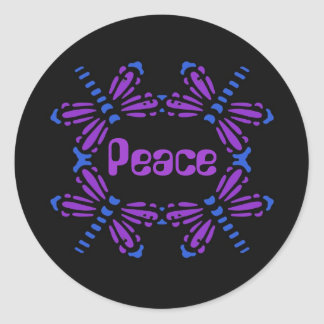 Peace, dragonflies in blue & purple on black round sticker