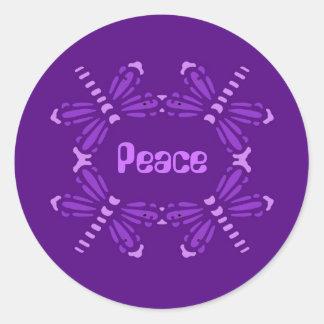 Peace, dragonflies in purple & pink round sticker