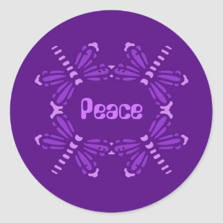 Peace, dragonflies in purple & pink classic round sticker
