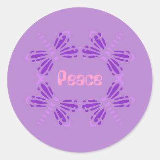 Peace, dragonflies,purple, pink & mauve round sticker