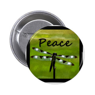 Peace Dragonfly 6 Cm Round Badge