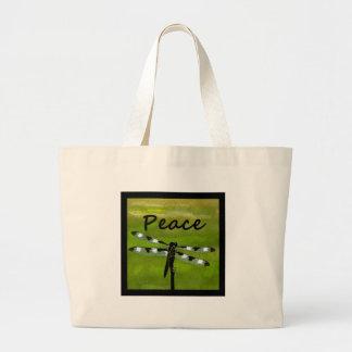Peace Dragonfly Canvas Bag