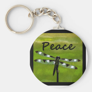 Peace Dragonfly Basic Round Button Key Ring