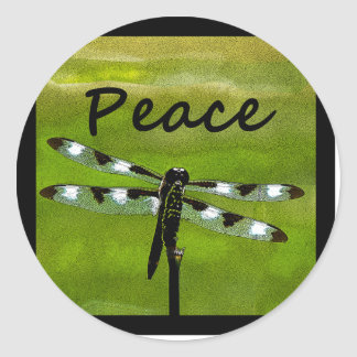 Peace Dragonfly Round Sticker
