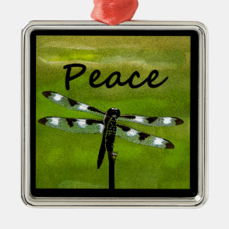 Peace Dragonfly Silver-Colored Square Decoration