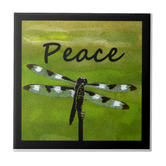 Peace Dragonfly Small Square Tile