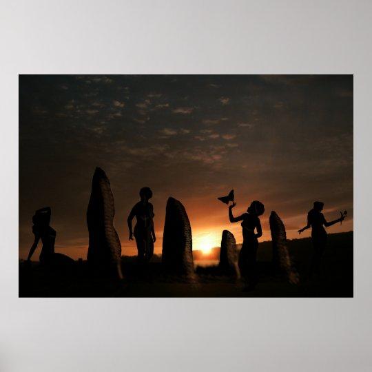 Peace druids stones poster