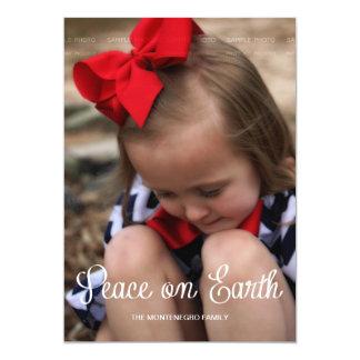 Peace Earth Kid Christmas Holiday Photo Full Bleed 13 Cm X 18 Cm Invitation Card