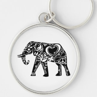 Peace Elephant Silver-Colored Round Key Ring