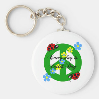 Peace every day is earth day key ring