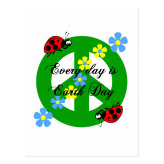 Peace every day is earth day postcards