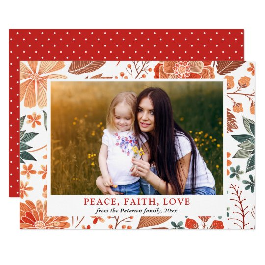 Peace Faith Love Seasonal Greeting Family Photo Card