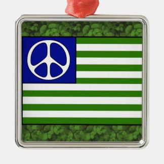 Peace Flag Silver-Colored Square Decoration