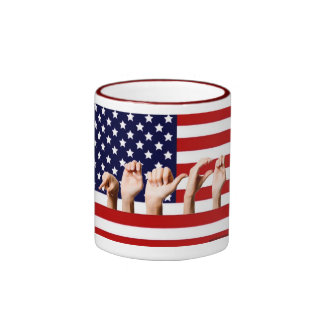 Peace Flag spelled out in ASL Coffee Mugs