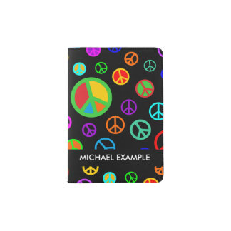 PEACE - Flat pattern multicolored + your backgr. Passport Holder