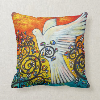 Peace Flew In Dove Pillow Throw Cushion