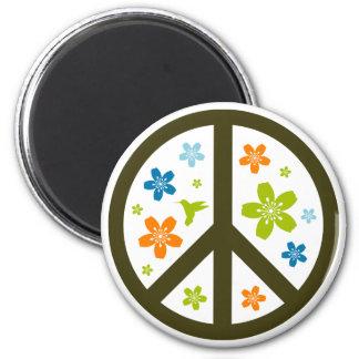 Peace Floral Design 6 Cm Round Magnet