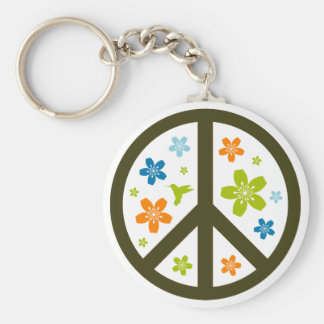 Peace Floral Design Basic Round Button Key Ring