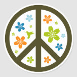 Peace Floral Design Round Sticker