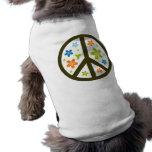 Peace Floral Design Sleeveless Dog Shirt