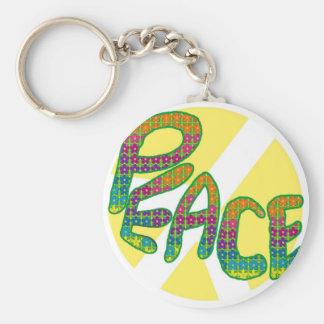 Peace - flower design basic round button key ring
