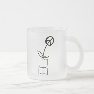 Peace Flower from War Bombs Frosted Glass Mug