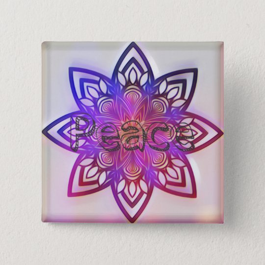 Peace flower mandala. 15 cm square badge