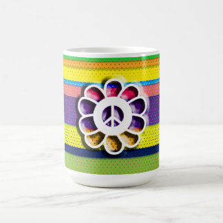 Peace Flower Power Colorful Stripes Coffee Mug