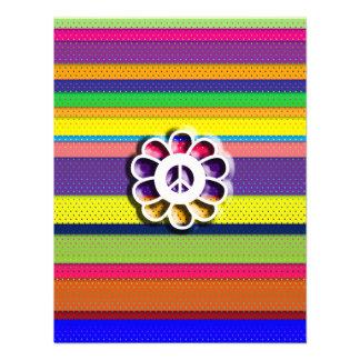 Peace Flower Power Colorful Stripes Custom Announcement