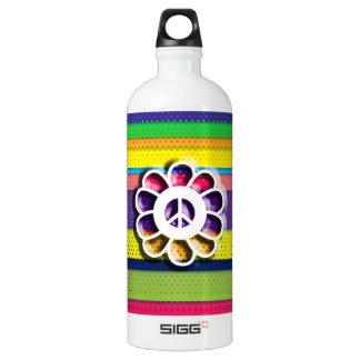 Peace Flower Power Colorful Stripes Water Bottle