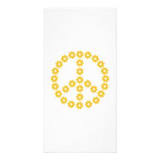Peace flowers customised photo card