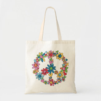 Peace Flowers Tote Budget Tote Bag