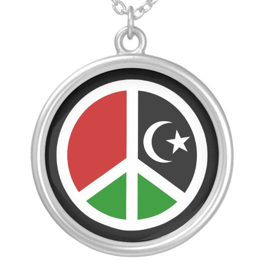 Peace for Libya Silver Plated Necklace