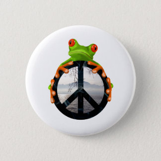 peace frog1 6 cm round badge