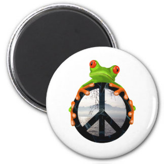 peace frog1 6 cm round magnet